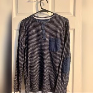 21men Navy blue Henley long sleeve